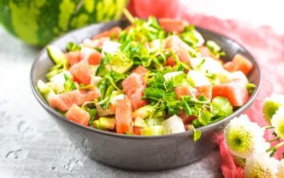 Melonen-Feta Salat mit Avocado
