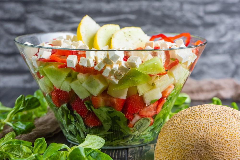 Melonen Schichtsalat